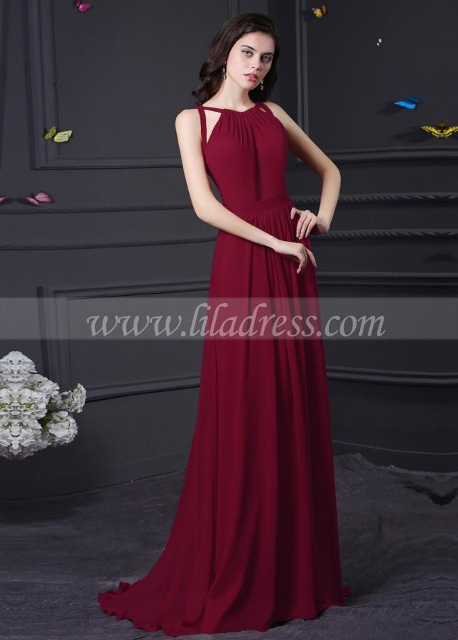 Gorgeous Chiffon Halter Neckline A-Line Formal / Bridesmaid Dresses