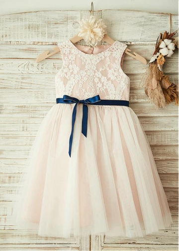 Stunning Lace & Tulle & Satin Jewel Neckline A-line Flower Girl Dresses