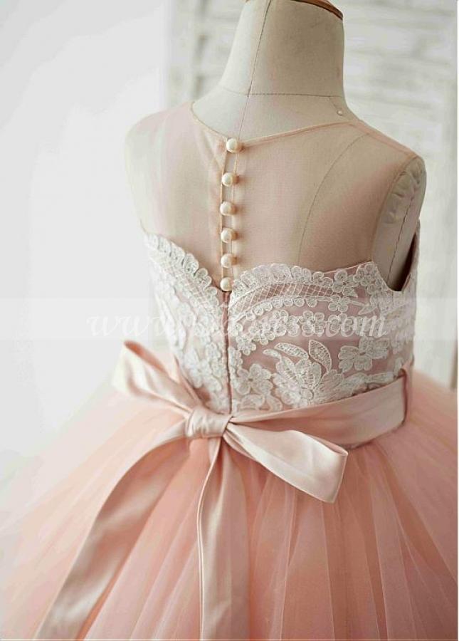 Unique Tulle & Satin Jewel Neckline Tea-length Ball Gown Flower Girl Dresses With Belt & Beadings
