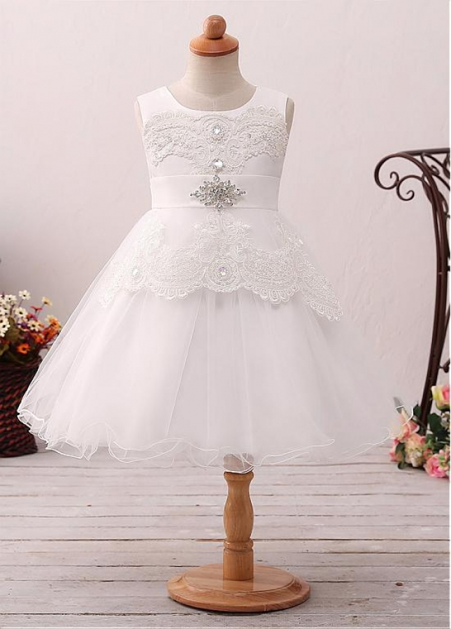Exquisite Tulle Jewel Neckline A-line Flower Girl Dress With Lace Appliques & Beadings & Belt