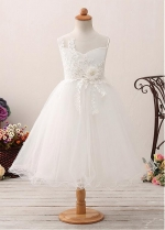 Modest Tulle & Satin Jewel Neckline A-line Flower Girl Dress With Lace Appliques & Beadings & Belt