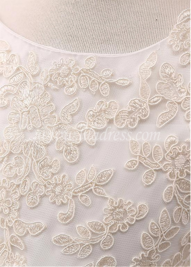 Beautiful Tulle Jewel Neckline A-line Flower Girl Dress With Lace Appliques & Handmade Flowers & Belt