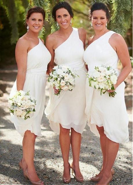 Popular Chiffon One Shoulder Neckline A-line Bridesmaid Dresses