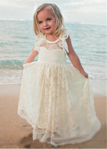 Stunning Lace Jewel Neckline A-line Flower Girl Dresses With Belt