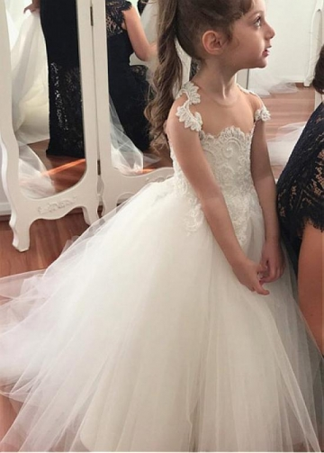 Modest Tulle Jewel Neckline Ball Gown Flower Girl Dresses With Lace Appliques & Beadings