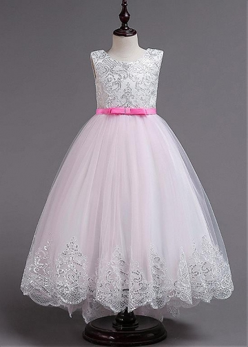 Fashionable Tulle & Sequin Lace jewel Neckline A-line Flower Girl Dresses With Bowknots
