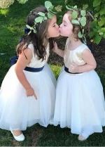 Sweet Satin & Tulle Jewel Neckline A-line Flower Girl Dresses With Belt