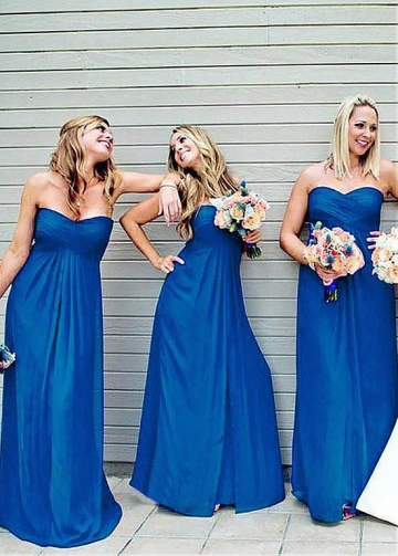 Wonderful Chiffon Sweetheart Neckline Full-length A-line Bridesmaid Dresses