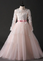 Beautiful Tulle Jewel Neckline A-line Flower Girl Dress With Handmade Flowers & Bowknot & Lace Appliques