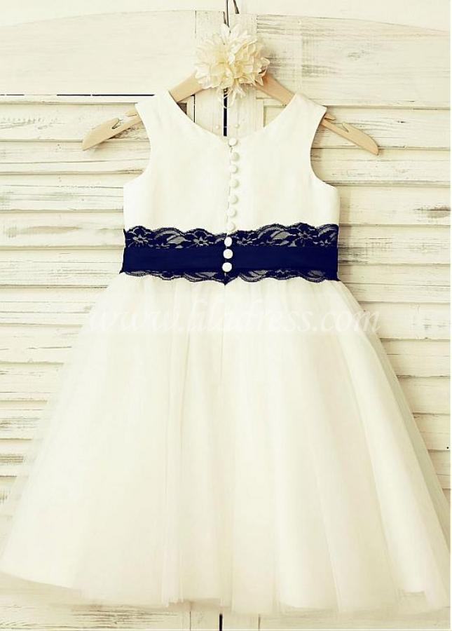 Excellent Satin & Lace Scoop Neckline A-line Flower Girl Dresses