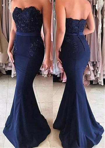 Alluring Sweetheart Neckline Mermaid Dark Navy Bridesmaid Dresses