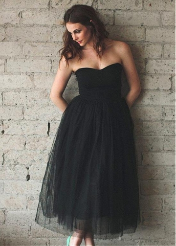 Wonderful Tulle & Satin Sweetheart Neckline Tea-length A-line Bridesmaid Dresses