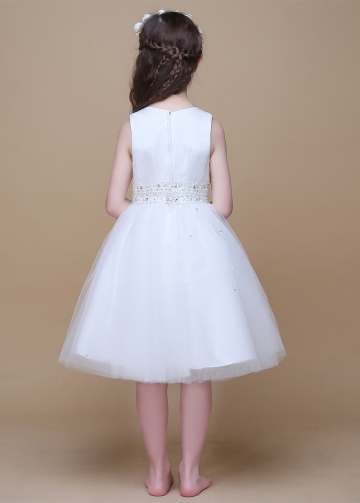 Marvelous Satin & Tulle Scoop Neckline A-Line Flower Girl Dresses With Beads