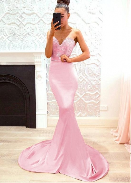 Alluring Lace & Stretch Satin Sweetheart Neckline Floor-length Mermaid Bridesmaid Dresses With Belt