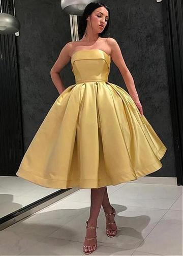 Cute Satin Strapless Neckline Tea-Length Ball Gown Homecoming Dress With Belt