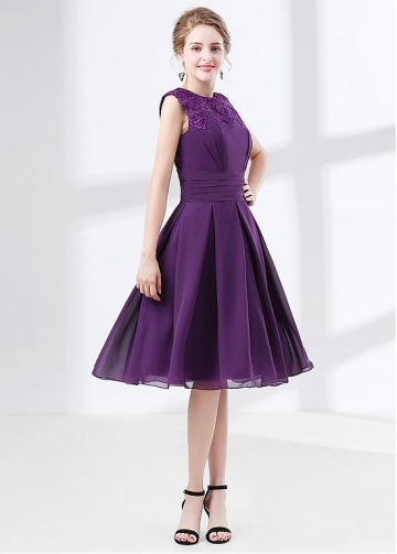 Purple Chiffon Jewel Neckline Knee-length A-line Homecoming / Bridesmaid Dress With Lace Appliques