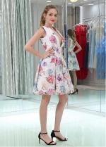 Marvelous V-neck Neckline A-line Print Homecoming Dresses