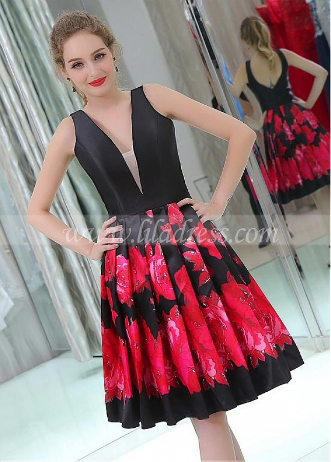 Graceful Satin V-neck Neckline Knee-length A-line Print Homecoming Dresses