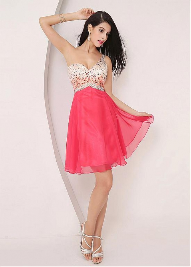 Romantic Chiffon One Shoulder Neckline A-line Homecoming Dresses With Beadings
