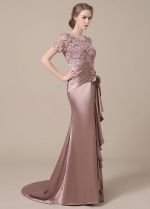 Elegant Silk Like Satin Scoop Neckline Lace Mermaid Mother of The Bride Dresses