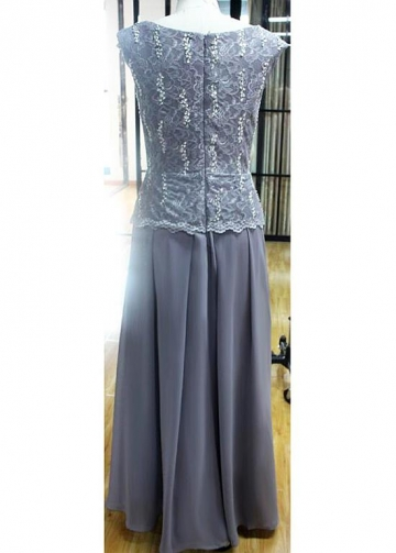 Alluring Lace & Chiffon Jewel Neckline Full-length Sheath/Column Mother Of The Bride Dresses With Beadings & Sequins