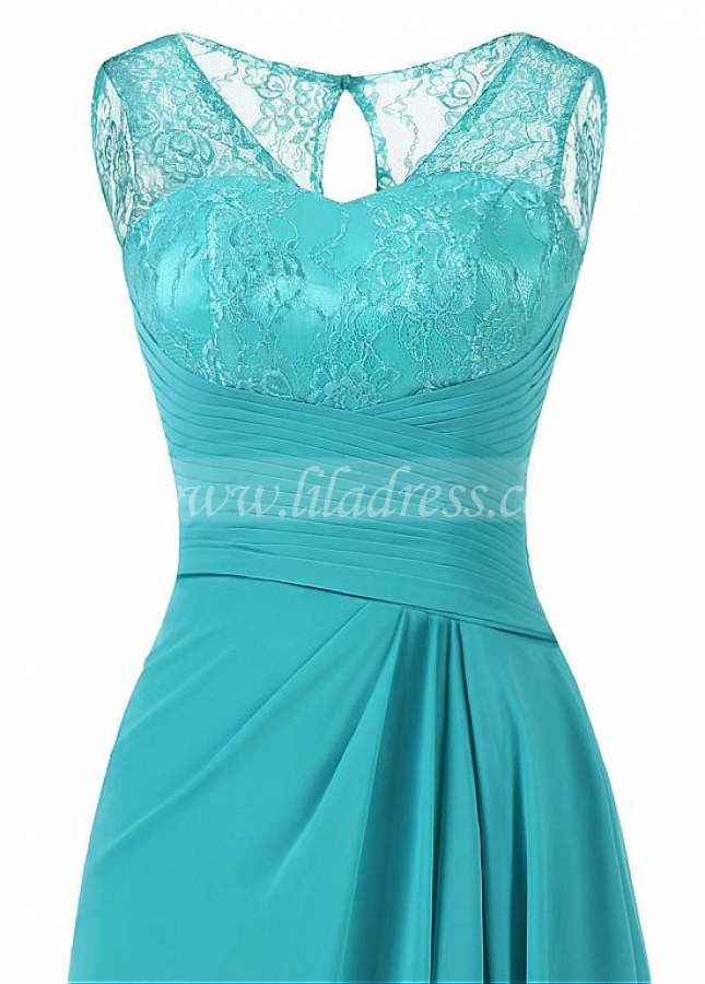 Eye-catching Lace & Chiffon Scoop Neckline Cut-out Floor-length A-line Mother Of The Bride Dress