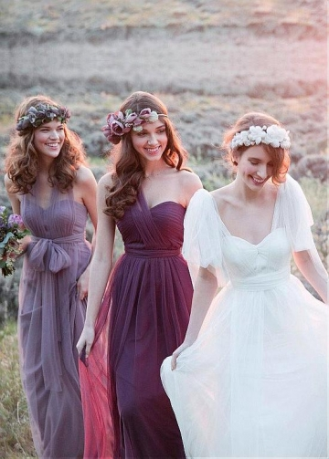 Elegant Tulle One Shoulder Neckline Full-length A-line Purple / Lilac Convertible Bridesmaid Dress