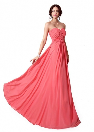 Marvelous Chiffon Sweetheart Neckline Floor-length A-line Prom / Bridesmaid Dresses