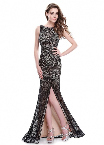 Sexy Lace Bateau Neckline Full Length Mermaid Prom Dresses With Slit
