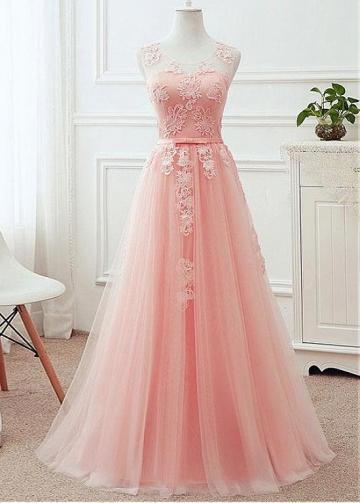 Marvelous Tulle Scoop Neckline Cut-out Back A-line Bridesmaid Dress With Lace Appliques & Belt