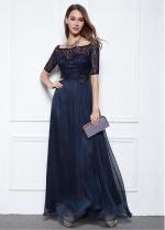 Fabulous Lace & Chiffon Square Neckline A-line Evening Dresses