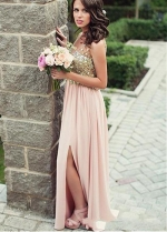 Modest Tulle & Chiffon V-neck Neckline Floor-length A-line Bridesmaid Dresses With Beadings