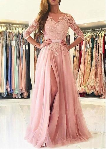 Unique Tulle Bateau Neckline Floor-length A-line Prom Dress With Belt & Lace Appliques