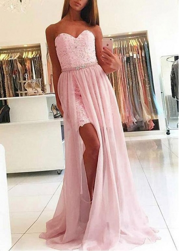 Glamorous Lace & Chiffon Sweetheart Neckline 2 In 1 Prom Dress With Beadings & Detachable Skirt