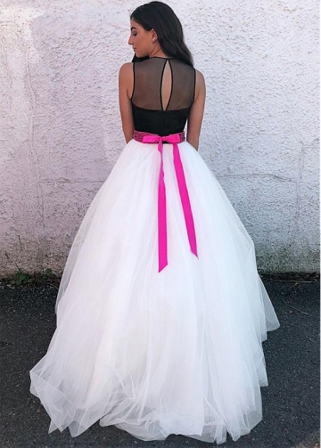 Romantic Tulle Jewel Neckline Floor-length A-line Prom Dress With Beadings & Belt