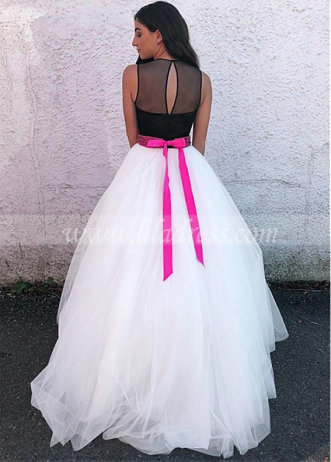 Romantic Tulle Jewel Neckline Floor-length A-line Prom Dress With Beadings & Belt