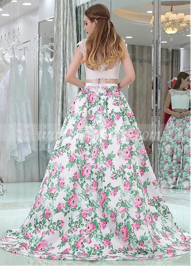 Chic Bateau Neckline Two-piece A-line Prom Dresses With Lace Appliques
