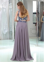 Popular Tulle & Chiffon High Collar Neckline Floor-length Two-piece A-line Prom Dresses With Beadings