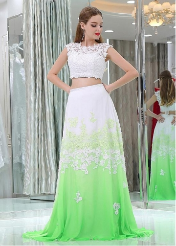 Eye-catching Tulle & Chiffon Jewel Neckline A-line Two-piece Prom Dresses With Beaded Lace Appliques