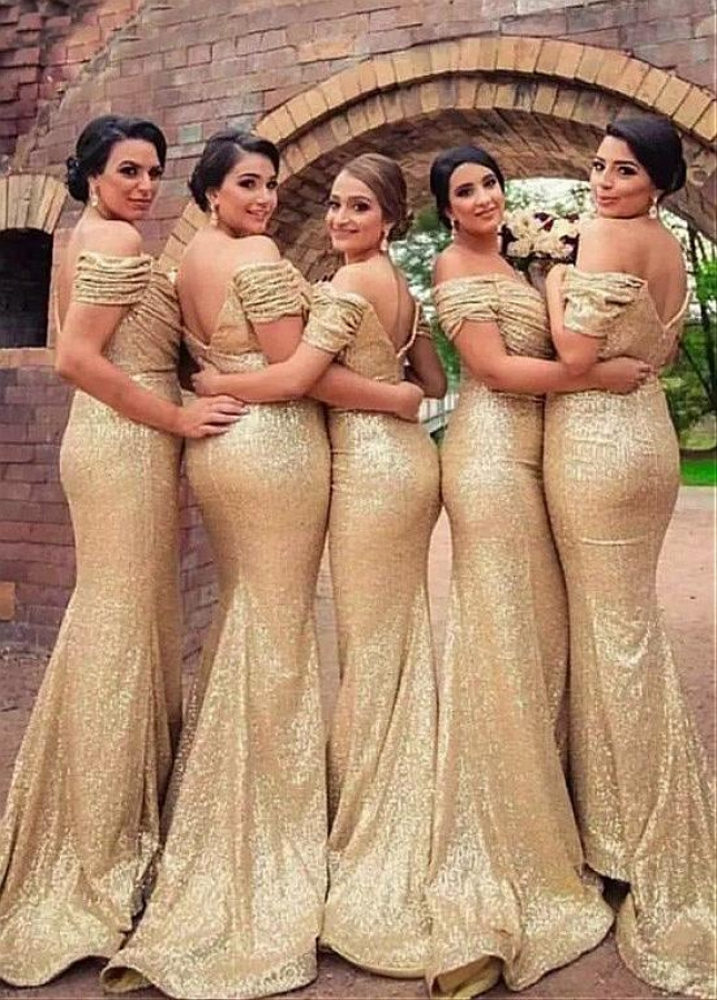 Delicate Sequin Lace Off-the-shoulder Neckline Floor-length Mermaid Gold Bridesmaid Dresses
