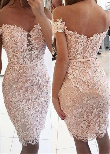 Exquisite Off-the-shoulder Neckline Short Sheath / Column Cocktail Dresses With Beaded Lace Appliques