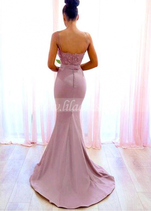Alluring Tulle & Stretch Satin Spaghetti Straps Neckline Floor-length Mermaid Bridesmaid Dresses With Beaded Lace Appliques & Belt