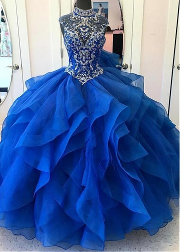 Splendid Tulle & Organza High Collar Floor-length Ball Gown Quinceanera Dresses With Beadings