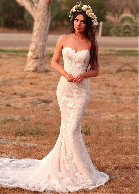 Attractive Tulle & Lace Sweetheart Neckline Mermaid Wedding Dresses With Beadings & Lace Appliques