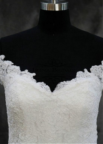 Modest Tulle Off-the-shoulder Neckline Mermaid Wedding Dresses With Lace Appliques