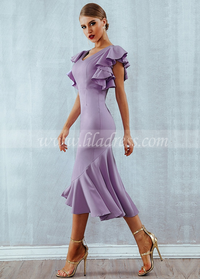 Graceful Jersey V-neck Neckline Hi-lo Sheath/column Cocktail Dresses