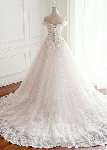 Fascinating Tulle Off-the-shoulder Neckline A-line Wedding Dress With Lace Appliques & Beadings