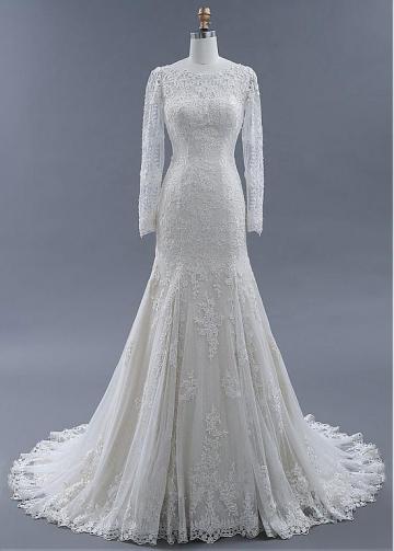 Stunning Lace Bateau Neckline Mermaid Wedding Dresses