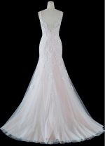 Amazing Tulle V-neck Neckline Mermaid Wedding Dresses With Lace Appliques
