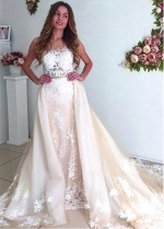 Wonderful Tulle Jewel Neckline 2 In 1 Wedding Dress With Lace Appliques & Beadings & Detachable Skirt